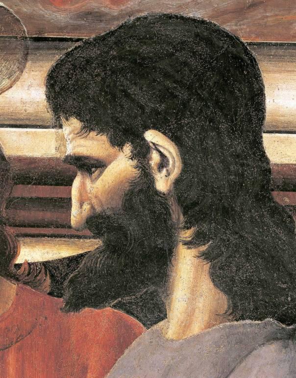 שיר הלל לבגידה. יהודה איש קריות, פרט מתוך הסעודה האחרונה, אנדראה דל־קסטגנו, 1450