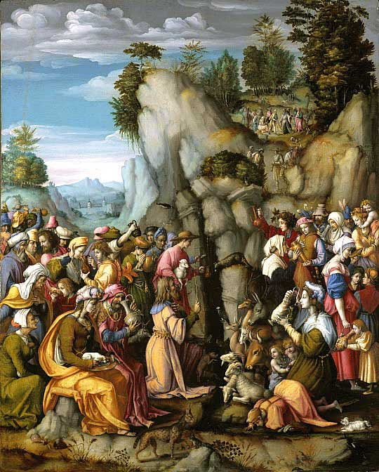 חונך על ידי מיטב המחנכים המצרים. 'משה מוציא מים מן הסלע', פרנצ'סקו בצ'יאסה, 1542