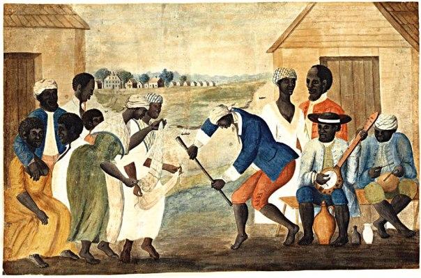 התיאולוגים של שחרור העבדים התבססו על ספר שמות. 'עבדים רוקדים לצלילי בנג'ו', 1780
