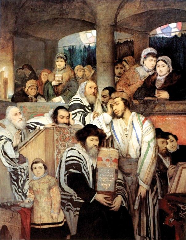 לא בתערובת ולא בחיקוי. יהודים מתפללים בבית הכנסת ביום הכיפורים. מאוריצי גוטליב 1878