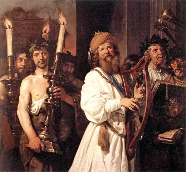 הנחת יסוד המלכות בעם ישראל. ג'ן דה בריי, דוד מנגן בנבל, 1670