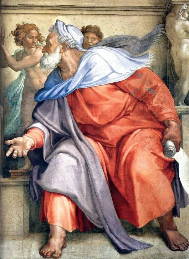 """בנבואותיו עד לחורבן אין קריאה לעם לחזור בתשובה. """"יחזקאל"""", מיכלאנג'לו, 1510"""