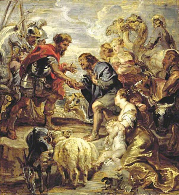 """מהו היחס הראוי לגיבורי התנ""""ך? פטר פאול רובנס, פגישת יעקב ועשו, 1624"""