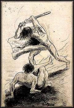 לא הסיפור הקלאסי של תוקף וקורבן. אודילון רדון, קין והבל, 1886