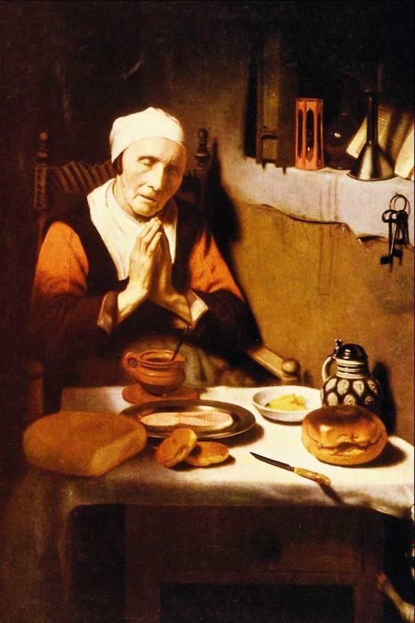 """מסירות מוחלטת. ניקולאס מאס, """"אישה זקנה בתפילה"""", 1656"""