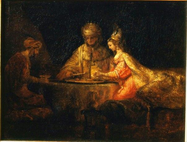 עיסוק בגיל ובנשיות. אחשוורוש והמן במשתה אסתר, רמברנדט, 1660