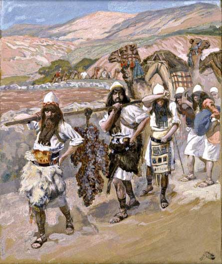 """המרגלים נשלחו ביוזמת העם או במצוות ה'? ג'יימס טיסו, """"ענבי כנען"""", 1900"""