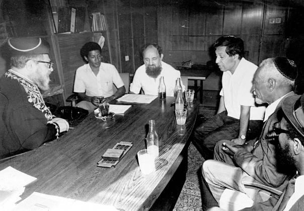 הרב עובדיה יוסף בפגישה עם מנהיגים ופעילים למען יהודי אתיופיה, 1979  באדיבות שושנה כהן
