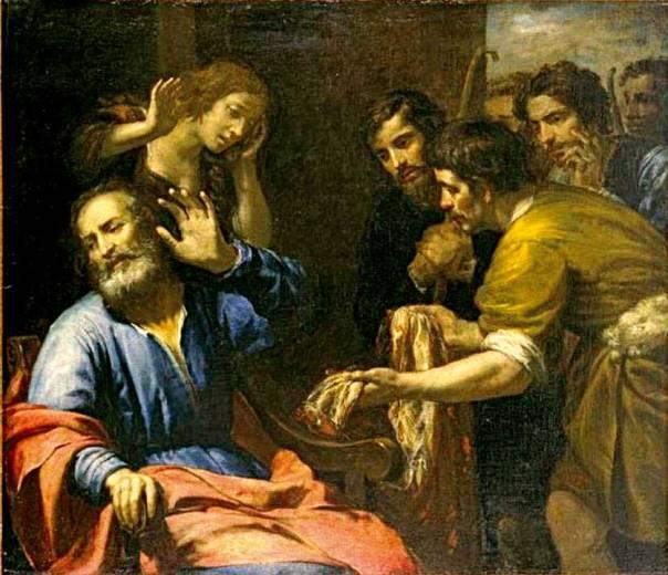 וַיְשַׁלְּחוּ כלומר ויפשיטו. כתונת יוסף מובאת ליעקב, ג'ובאני דה אנדריאה פרארי, 1640