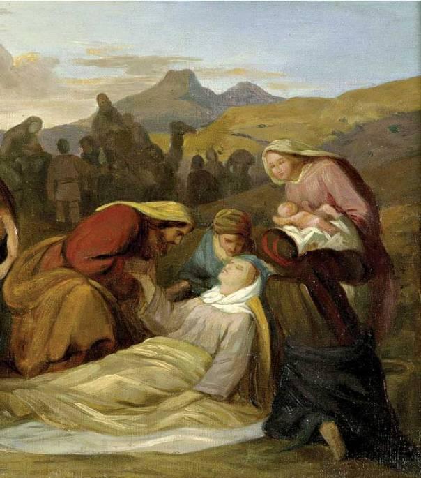 תיאור מצומצם של תגובות יעקב לסערות המשפחתיות הפוקדות אותו. מותה של רחל, גוסטב פרדיננד מץ, 1847