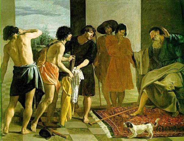 הכותונת הריקה מנכיחה את יוסף הנעדר. כתונת יוסף מובאת ליעקב, דייגו וולסקז, 1630