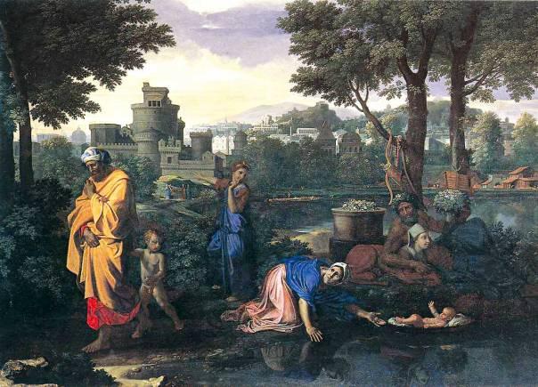 למשה התינוק יש ביטחון מלא באמו ובגורלו. ניקולא פוסן, The Exposition of Moses, א1654