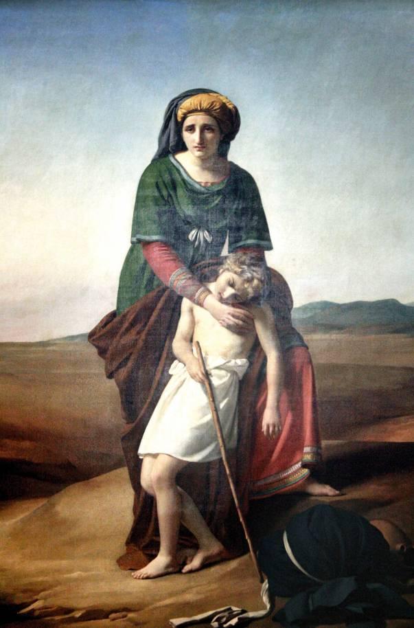 ישמעאל נזכר ביצירה המוסלמית עשרות פעמים.  הגר וישמעאל במדבר, פרנסואה ג'וזף נאבז, 1820