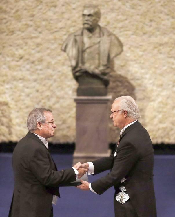 חתן פרס נובל לכימיה, אריה ורשל, בטקס הענקת הפרס, שטוקהולם 2013   צילום: אי.פי