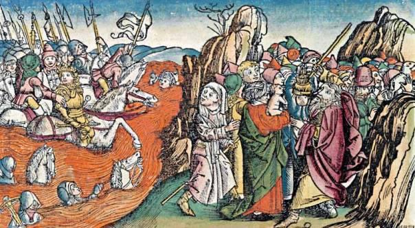 שלא כמונו, בני ישראל לא הכירו את סיפור יציאת מצריים. חיתוך עץ מתוך כרוניקת נירנברג, 1493