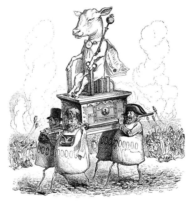 """ההחלטה הייתה של העם. עגל הזהב, ז'אן גרנדוויל, איור מתוך """"עולם אחר"""", 1844"""