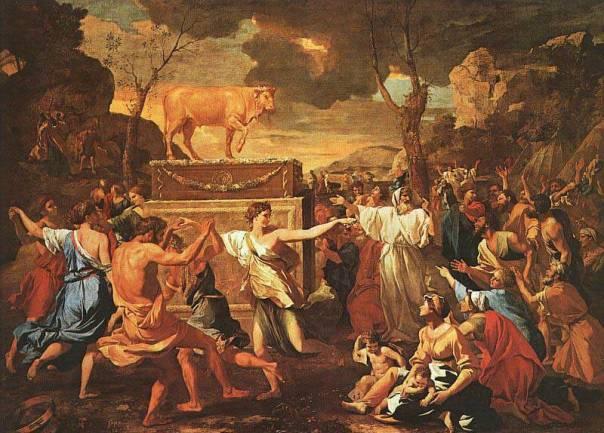 אהרן התכוון לעשות ארון, העם הפך את הכרובים לעגל מסכה. חטא העגל, ניקולה פוסאן, 1634