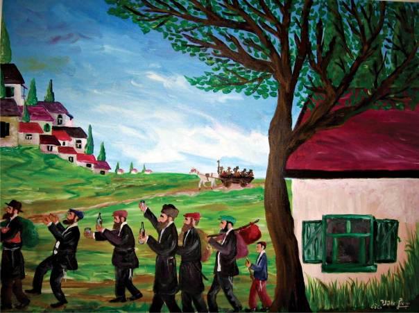 """חב""""ד וברסלב כחברות אמוניות שאינן מסתגרות. יחיאל אופנר, """"חסידים הולכים אל הרבי""""  יחיאל אופנר הוא צייר חסיד חב""""ד המתעד בציוריו את חיי החסידים בעיירה היהודית"""