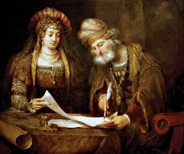 אסתר ומרדכי כותבים את סיפור פורים, ארט דה גלדר, 1675