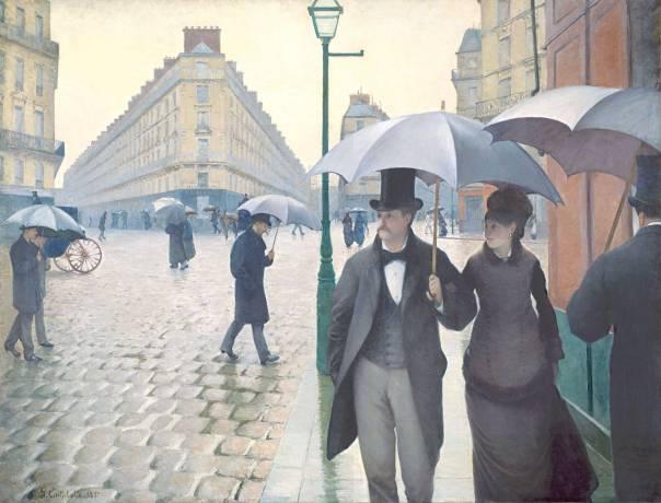 """""""הרחובות שרים, האבנים מדברות ובתים נוטפים היסטוריה, תהילה, רומנטיקה"""".  גוסטב קייבוט, רחוב פריזאי בגשם, 1877"""
