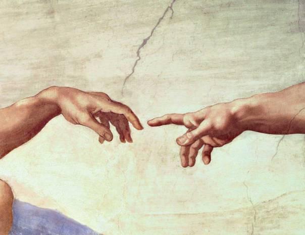 """הציווי הראשון אל אדם וחוה הוא """"פרו ורבו ומלאו את הארץ"""". מיכלאנג'לו, בריאת האדם (פרט), 1511"""