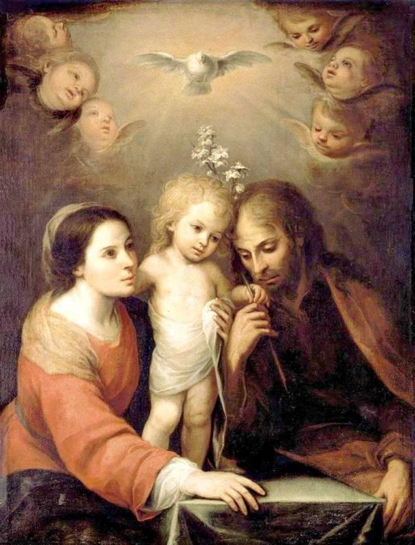 """המודל הנוצרי של """"המשפחה הקדושה"""" הוא בעצם """"לא משפחה"""" בעין יהודית.  חואן סימון גוטיירז, המשפחה הקדושה (פרט), 1643"""