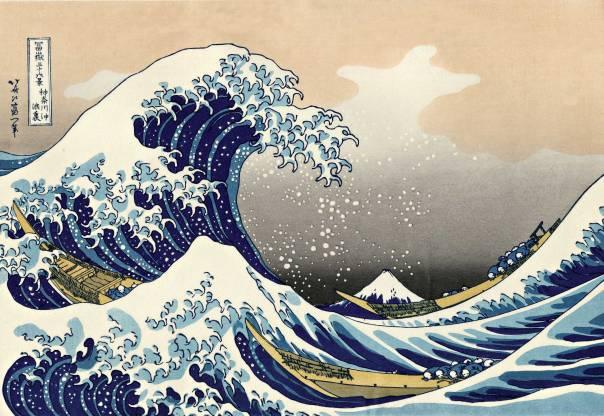 """""""כל שפה מזמינה דרך חשיבה אחרת"""". קצושיקה הוקוסאי, הגל הגדול בסמוך לקאנאגאווה, 1823"""