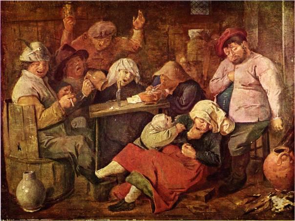 דמות השתיין חוזרת שוב ושוב בספריו של פאלאדה. אדריאן ברואר, פונדק עם איכרים שיכורים, 1625