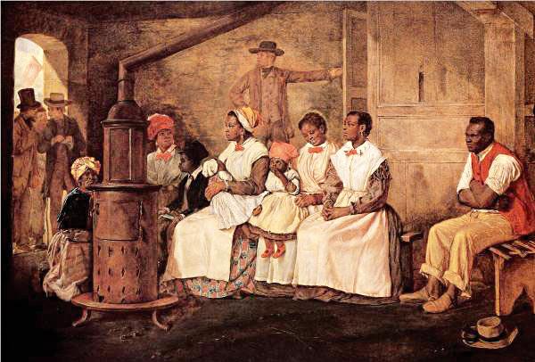 הפכו לכלי שחמט על לוח הקפיטליזם. עבדים מחכים למכירה, וירגי'ניה, 1861