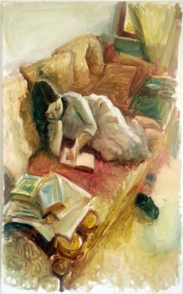 ליאוניד בלקלב, מוריה רחל קוראת על הספה, 2012