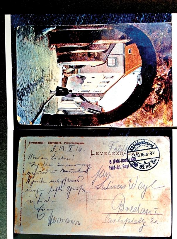 יהודי גרמניה הצטרפו לנחשול הפטריוטי. גלויה שנשלחה מהחזית, הונגריה 19.10.1916ממכתבי הרמן וייל.  באדיבות רחל זינגר