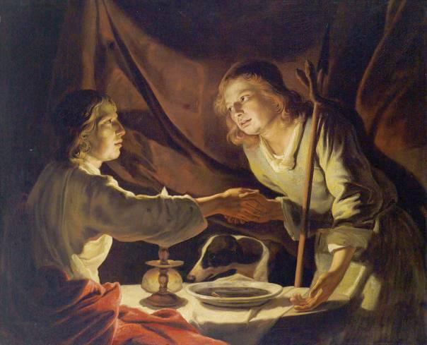 """""""אם ילך עשו לארץ אחרת, יפרוק את עול יעקב מעל צווארו"""". יעקב קונה את הבכורה, מתיאס שטומר, המאה ה־17"""