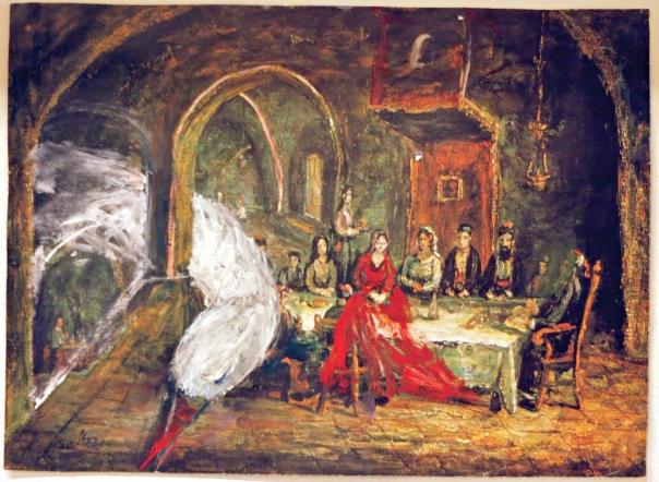 """רננה לאוב, ציור על גבי רפרודוקציה של משה קסטל, פרט מתוך """"ילדה יקרה"""", 2013"""