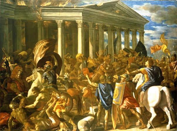 טיטוס של פוסן מנסה לבלום בגופו את חורבן המקדש. ניקולה פוסן, חורבן בית המקדש ובזיזתו, 1626-1625, מוזיאון ישראל