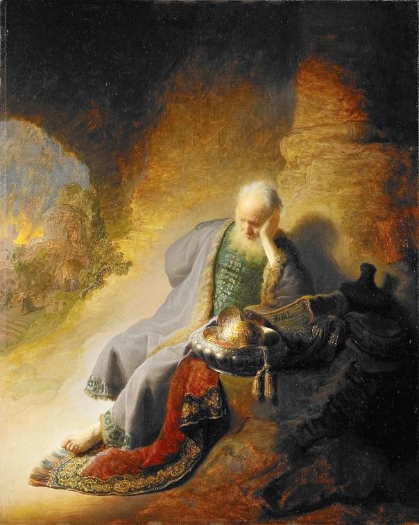 געגוע אדיר לבית שלפני החורבן. רמברנדט, ירמיהו מקונן על חורבן ירושלים, 1630