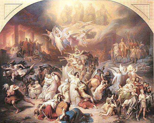מציאות המחולקת בין טוב לרע. וילהלם פון קאולבך, חורבן ירושלים בידי טיטוס, 1846