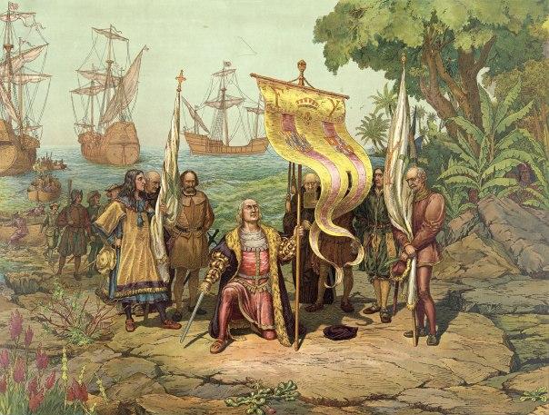 הראשון שהציב את רגלו על אדמת אמריקה היה קונברסו, יהודי אנוס. קולומבוס, הדפס משנת 1893 ]