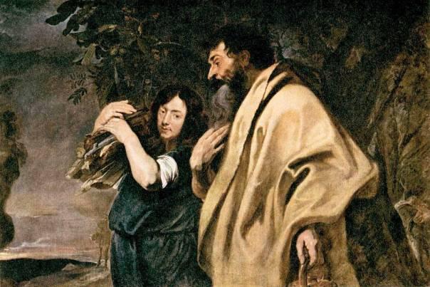 החיקוי הוא מעשה סאטירי. אברהם ויצחק, אנתוני ואן דייק, 1617