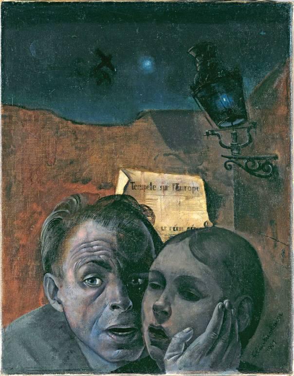 פליקס נוסבאום (אמן יהודי־גרמני שנספה באושוויץ), חרדה (דיוקן עצמי עם האחיינית מריאן), 1941