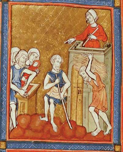 עבודת פרך, הגדת הזהב, ברצלונה, 1320 (פרט)