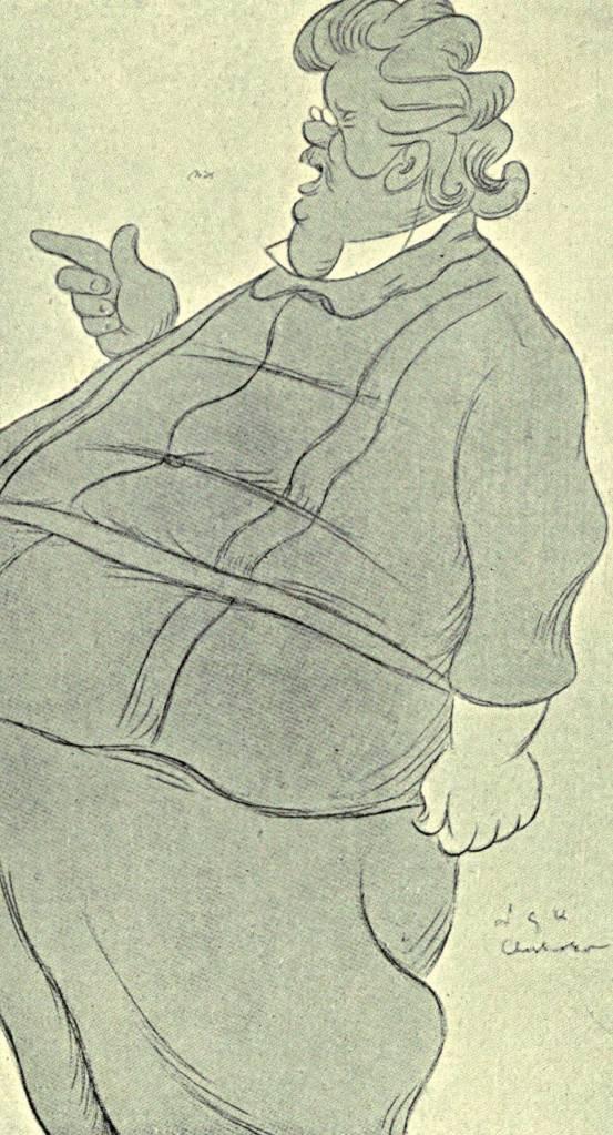 """""""קריאה המשולה לשיטוט בבוסתן מלא עצי פרי נדירים"""". צ'סטרטון בקריקטורה של מקס בירבוהם, 1907 צילום: אי.פי.אי"""