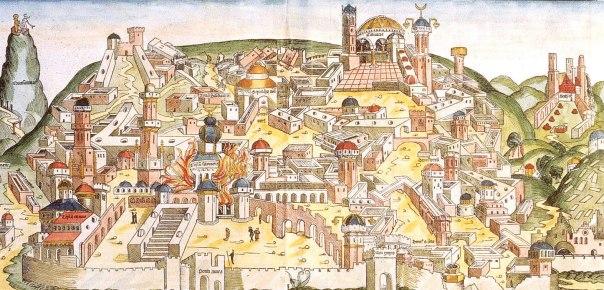 חורבן בית ראשון על ידי הכשדים. מתוך הכרוניקה של נירנברג, 1493