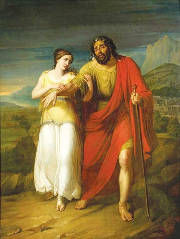 כמו בת פרעה, גם אנטיגונה בוחרת לסכן את נפשה ומביאה את אחיה לקבורה. אדיפוס ואנטיגונה, אלכסנדר קוקולר, 1825.
