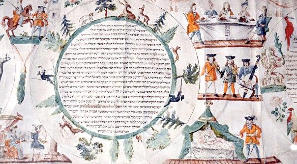 העם מתכנס לצום שלושת ימים. מגילת אסתר מהמאה ה־18, המוזיאון היהודי באמסטרדם