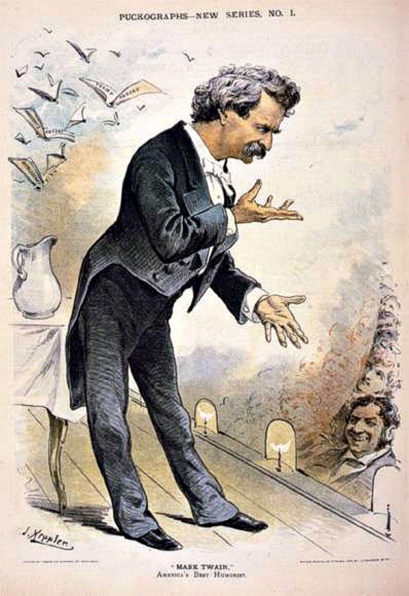 הדפים גדושים בשמות של סיפורים, ספרים וגיבורים פיקטיביים. קריקטורה של מארק טוויין, 1885