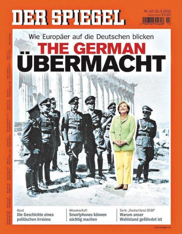 """""""אנחנו לא יכולים לשכוח את הגרמנים"""". שער ה""""דר שפיגל"""" שעליו תמונתה של אנגלה מרקל יחד עם קצינים נאצים"""