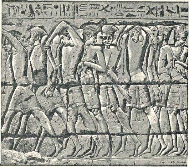 הכתובות המצריות מזכירות את כיבוש ארץ פלשת. תבליט של שבויים פלשתים ממדינת האבו במצרים