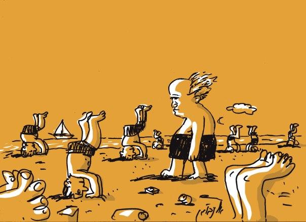 בדידות וחוסר יכולת לשמר קשרי חברות. דוד בן־גוריון באיור של עמוס אלנבוגן, 2012
