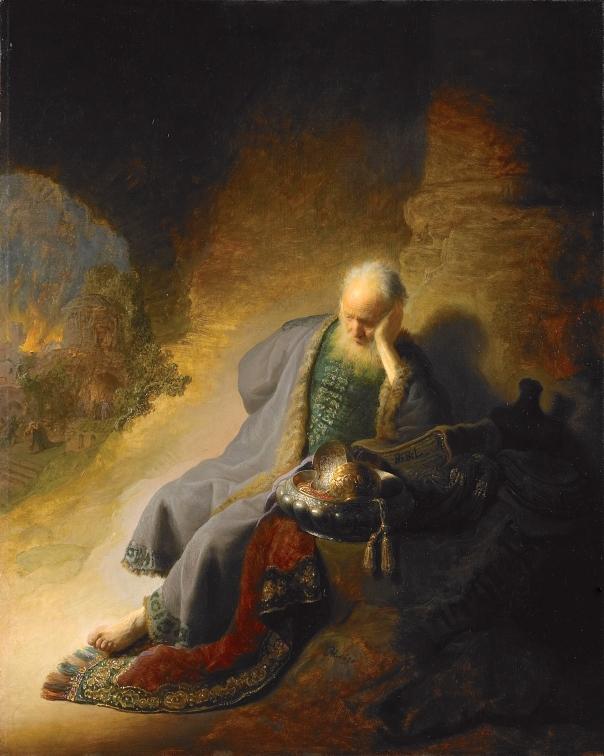 """הוא משפיל את עיניו, נוכח כל כולו ברגע הנורא. """"ירמיהו מבכה את חורבן ירושלים"""", רמברנדט, 1630"""