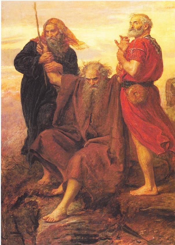 משה טורח בענוותו להנמיך את עצמו, וכמעט להעלים את דמותו. הניצחון על עמלק, ג'ון אוורט מיליי, 1871